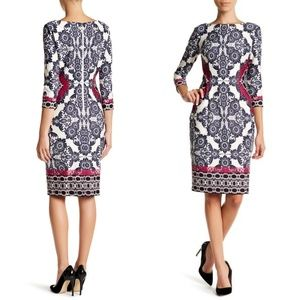 Eliza J 3/4 sleeve printed dress 4P